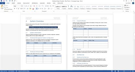 database specification template database design document template