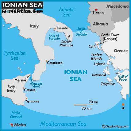 map of ionian sea world seas, ionian sea map location