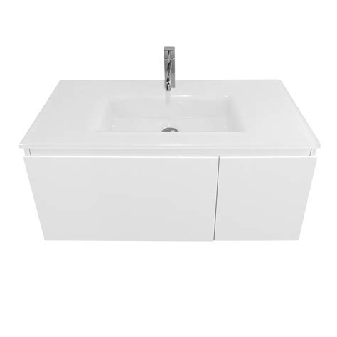 Cibo Vanity by Cibo Design 900mm Seamless Wall Hung Vanity With Glass Top