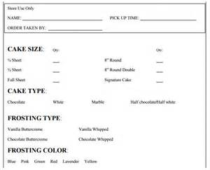 Cake Order Form Template by Sle Cake Order Form Template 13 Free Documents