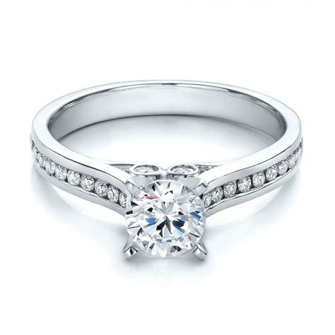 contemporary channel set engagement ring 100405