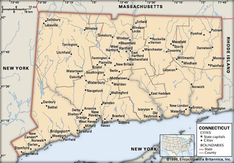map of ct towns connecticut cities encyclopedia children s