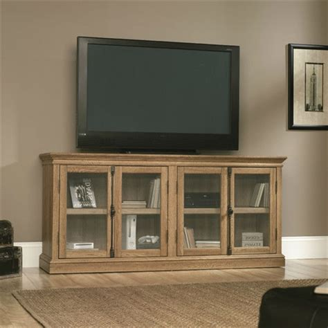 Oak Tv Cabinet With Glass Doors Scribed Oak Wood Finish Tv Stand With Tempered Glass Doors Made In Usa Fastfurnishings