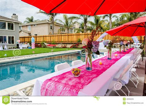 Backyard Baby Shower Ideas Baby Shower Table And Outdoor Decorations Stock Photo