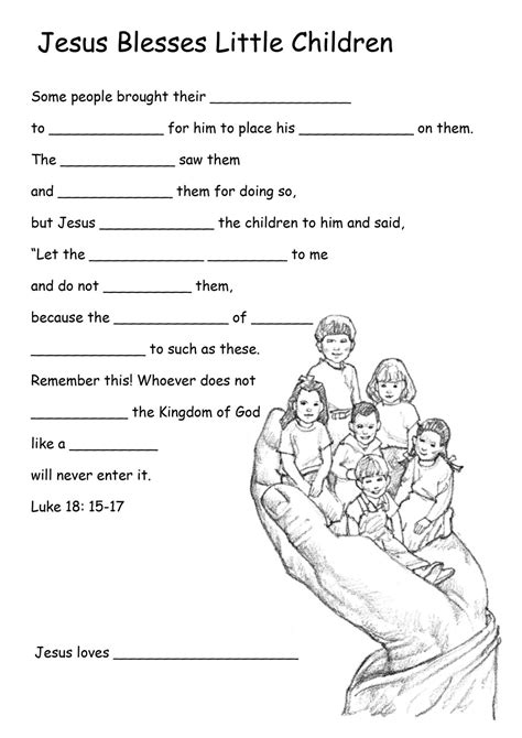 Catholic Worksheets For by Growing In Grace Jesus Welcomes The Children Cf