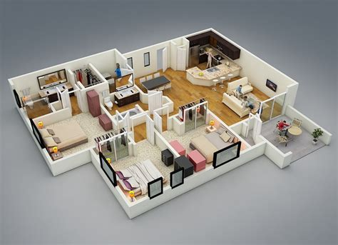 home design 3d undo 25 more 3 bedroom 3d floor plans 3d bedrooms and 3d interior design
