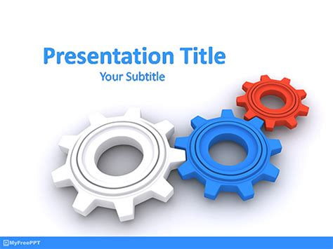 Free Machine Powerpoint Templates Myfreeppt Com Gears Powerpoint Template