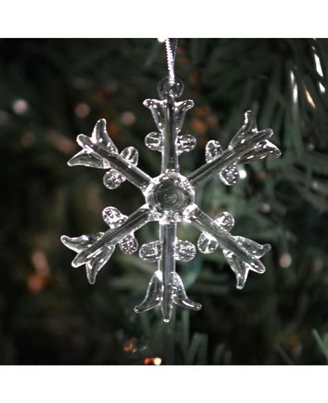 Handmade Snowflake - six different clear glass handmade snowflake ornaments