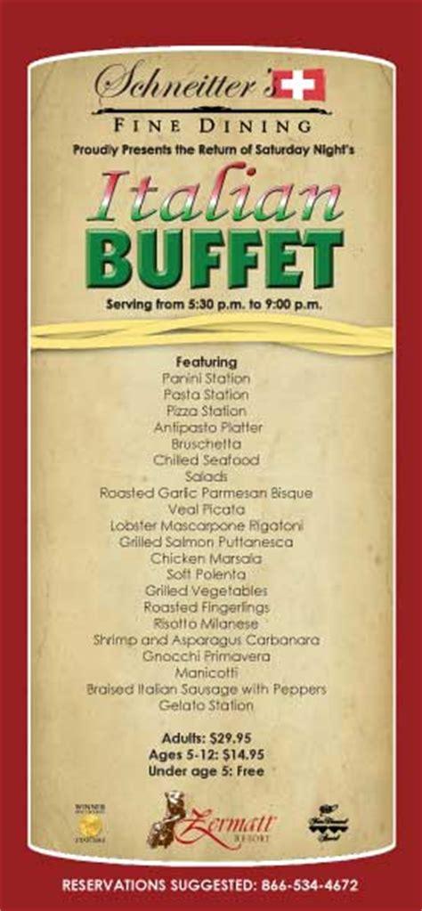 Ideas For Dinner Party Menu - the italian night buffet is back the zermatt resort weblog