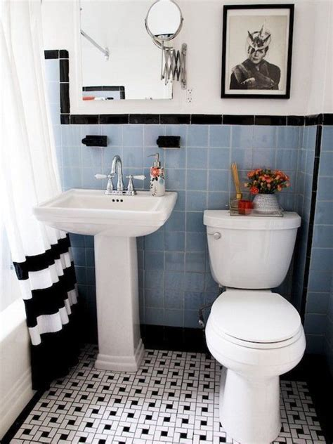 Black And Blue Bathroom Ideas 31 Retro Black White Bathroom Floor Tile Ideas And Pictures Our New Home Black