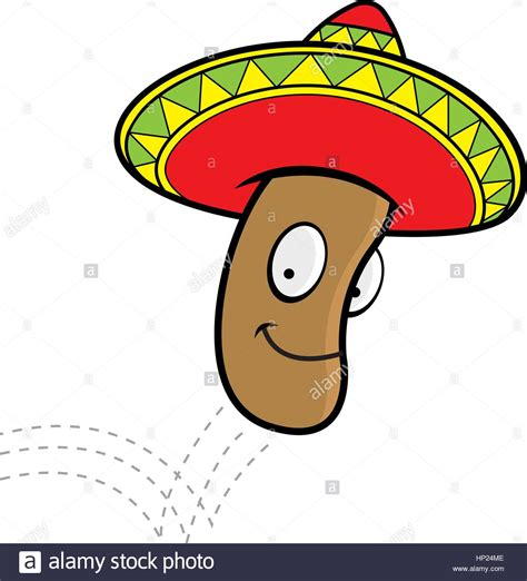 Ijumping Beans by A Mexican Jumping Bean With A Sombrero Stock