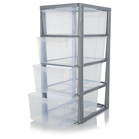 asda 4 drawer plastic storage unit silver storage