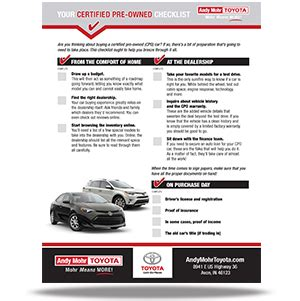 certified pre owned checklist avon in | andy mohr toyota