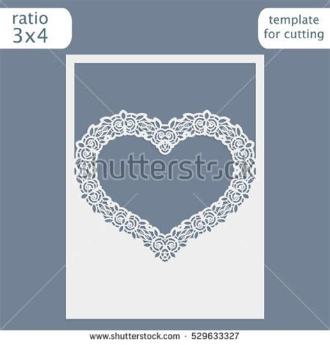 Laser Cut S Day Card Template by Set Stencil Lacy Hearts Carved Openwork Stock Vector