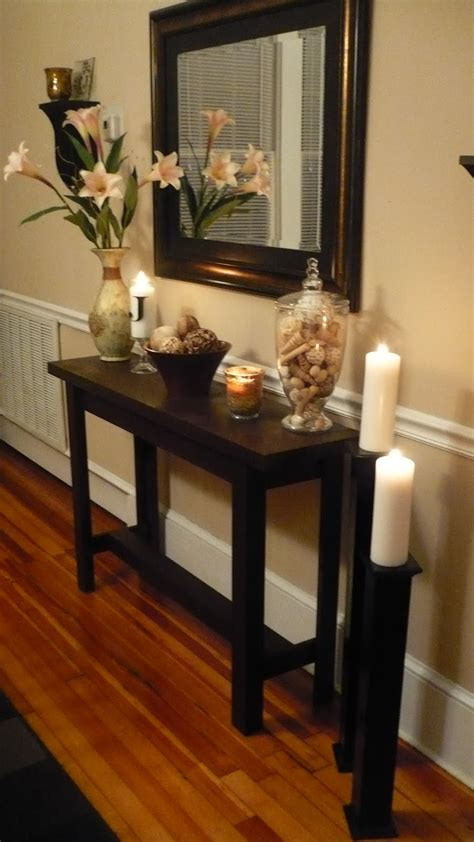 entry hall table decor diy console table with life as lori somewhat simple