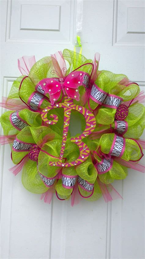diy wreath diy deco mesh wreath quot b quot by tonia crafts etc pinterest