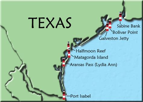 texas lighthouses map texas map