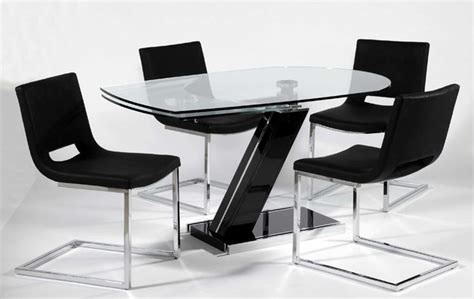 Designer Glass Dining Tables Extendable Rectangular Clear Glass Top Leather Designer Table Set Modern Dining Tables