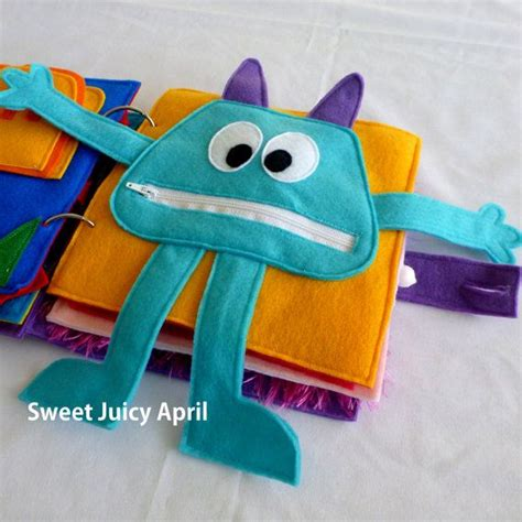 libro zapato monster zipper mouth quiet book page by sweetjuicyapril on etsy busy book