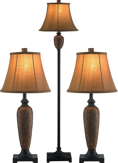 Hammered Bronze 3 Piece Floor and Two Table Lamps Set