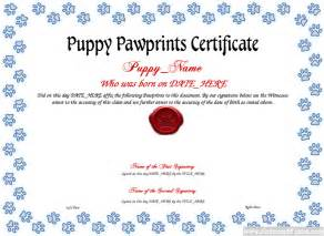 puppy birth certificate template free puppy pawprints certificate template