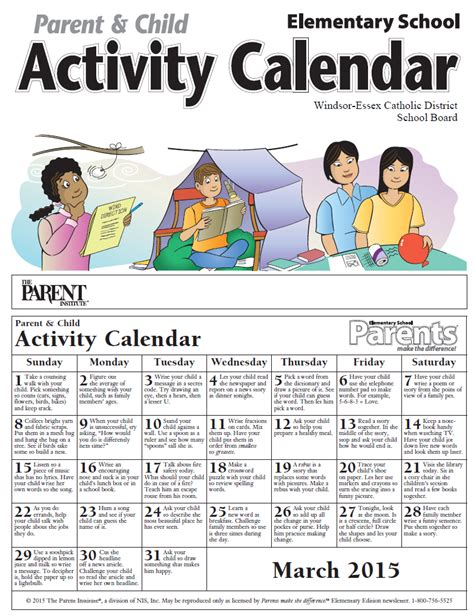Parent Calendar News And Events Parents Make The Difference March