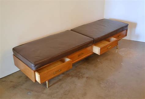 leather bench seat cushions mid century bench with drawers and leather cushions for