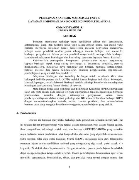 artikel format layanan bimbingan dan konseling persiapan akademik lbk f klasikal