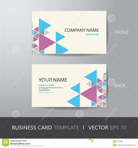 business card triangle abstract background design layout