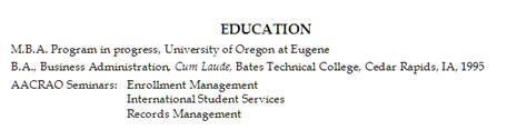 resume education section resume name