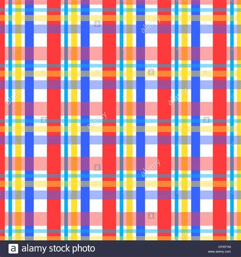 Plaid Pattern En Espanol   plaid pattern in red blue and yellow colors stock photo