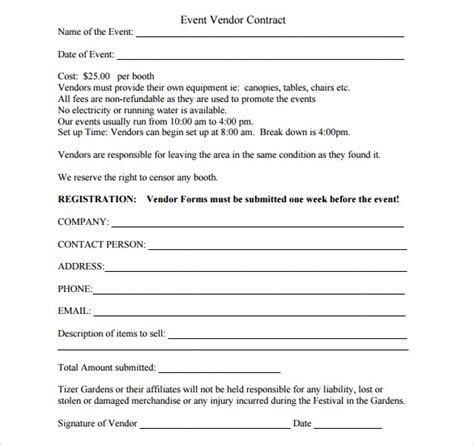 sample vendor contract templates  ms word