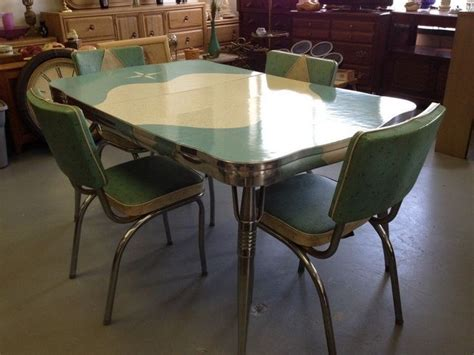 retro vintage 50s kitchen chrome dinette table 4 chairs