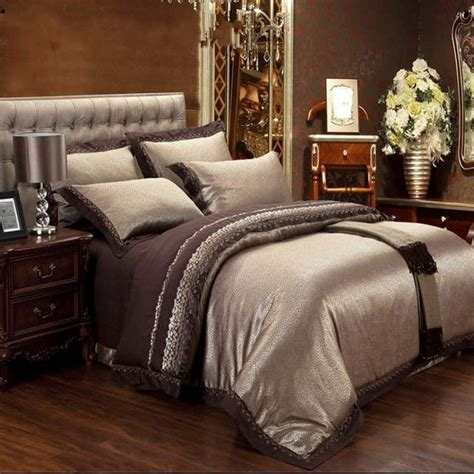 Jacquard Bed Set Aliexpress Buy Jacquard Silk Bedding Set King 4pcs Brown Embroidered Home Textile