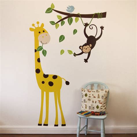 wall sticker for monkey branch and giraffe wall stickers by parkins interiors notonthehighstreet