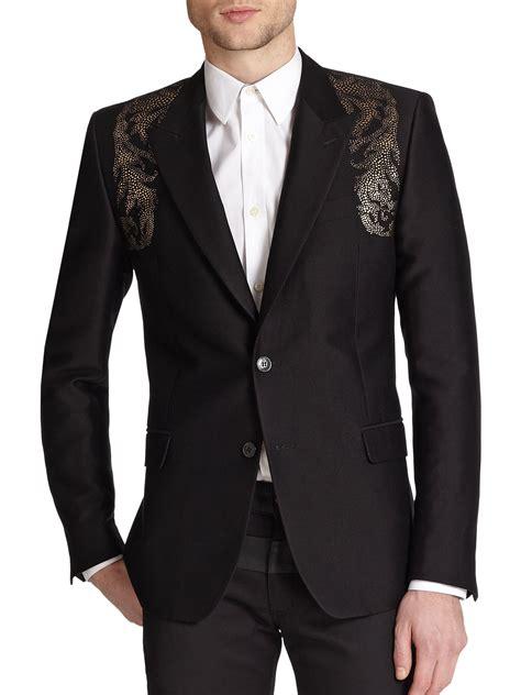 Style Blazer Pria Black D versace baroque embellished jacket in black for lyst