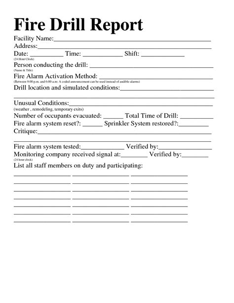 emergency drill template best photos of evacuation drill report template