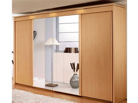 new york 4 door 2 mirror sliding door wardrobe in beech