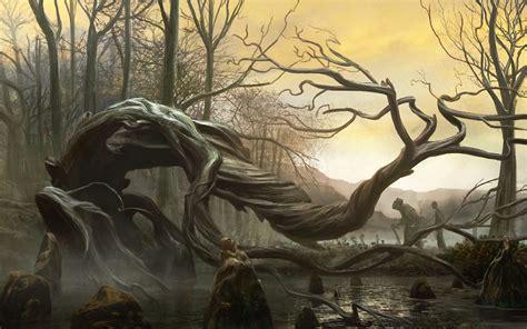 cg digital spooky landscapes creepy trees