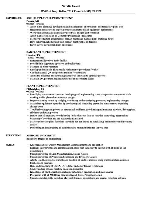 Plant Superintendent Sle Resume by Plant Superintendent Resume Sles Velvet