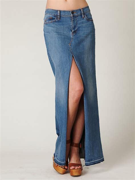 19900 Denim Slit Skirt free denim maxi slit skirt in blue lyst