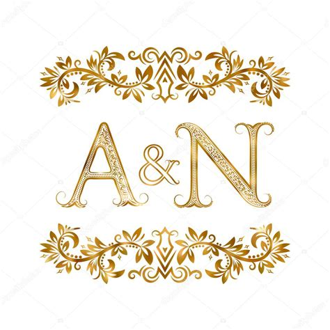 A N a n vintage initialen logo symbool stockvector
