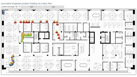 live indoor employee location tracking displayed on a floor plan youtube