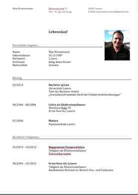 Lebenslauf Format Schweiz Curriculum Vitae Cv Lebenslauf Vorlage Muster Und Vorlagen Kostenlos