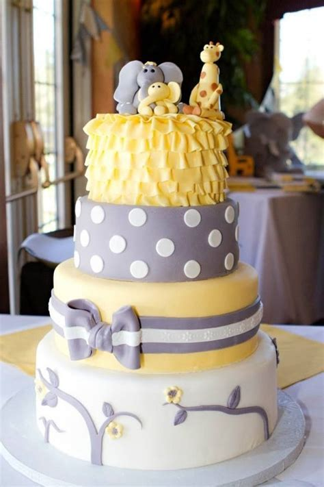 Yellow And Grey Baby Shower Cake by 13 Baby Shower Cakes Designs