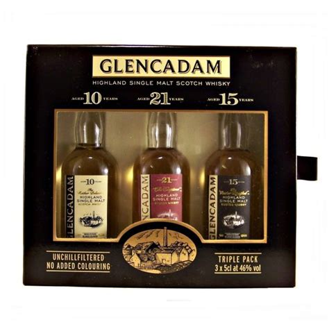 glencadam miniature whisky gift set with 3 different