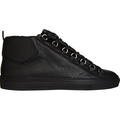 balenciaga black sneakers balenciaga arena high top sneaker in black for lyst