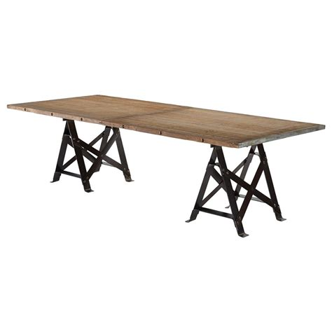 Reclaimed Industrial Dining Table Frinier Industrial Loft Iron Reclaimed Wood Large Dining Table 107 Inch Kathy Kuo Home