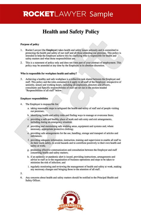 work health and safety policy templates free health and safety at work policy template