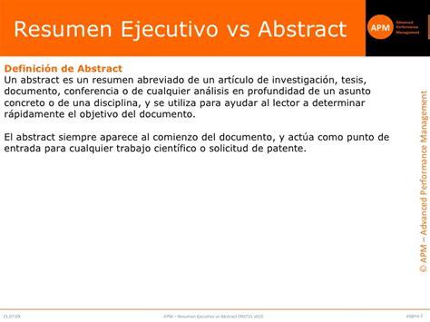 Resumen O Abstract Definicion by Executive Summary Vs Abstract V010 Cli